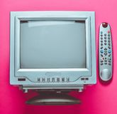 Retro tv top view on pink background. Retro tv top view on pink background royalty free stock images
