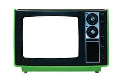 Retro TV verde isolata con i percorsi di residuo della potatura meccanica Immagine Stock Libera da Diritti