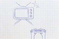 Retro tv and video games joystick Royalty Free Stock Photo
