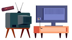 Retro Tv Vs Modern HD Plasma Vector. Backside. lcd panel And Vintage Old Analog Display Screen. Isolated Cartoon. Retro Tv Vs Modern HD Plasma Vector. Backside stock illustration