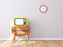 Retro tv wall clock. Room with retro tv and clock on the background wall Royalty Free Stock Photos