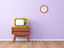 Retro tv wall clock Royalty Free Stock Image