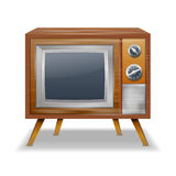 Retro TV in the wooden case - isolated on white ba Royalty Free Stock Photography