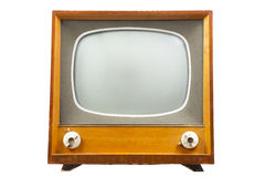 Retro tv with wooden case. Isolated on white background royalty free stock images