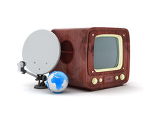 Retro tv with wooden case and modern satellite Royalty Free Stock Photo