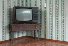 Retro tv with wooden case Royalty Free Stock Photo