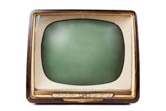 Retro TV with wooden case Stock Photos