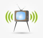 Retro TV in the wooden case, vector. To design programs online TV stock illustration