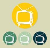 Retro tvsymbol stock illustrationer