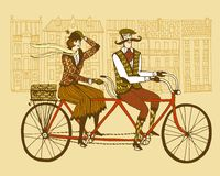 Retro tweed ride illustration Royalty Free Stock Photography