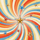 Retro twirl stripped background with stars Stock Photos