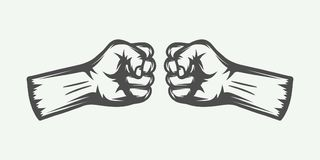 Retro two fists in vintage style. Graphic art. Vector illustration Royalty Free Stock Images