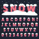 Retro type font with snow Royalty Free Stock Photo