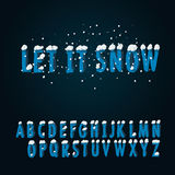 Retro type font with snow Stock Images