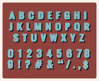 Retro type font. Symbol vintage, typography, numbers and letters, vector illustration Royalty Free Stock Photography