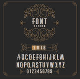 Retro type font, type letters, numbers and floral frame with copy space for text or letter - emblem for fashion, beauty and jewelr Stock Photos