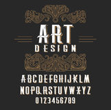 Retro type font, type letters, numbers and floral frame with copy space for text or letter. Emblem for fashion, beauty and jewelry industry vector illustration