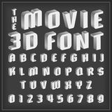 Retro type font, vintage typography with movie style Royalty Free Stock Photography