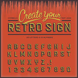 Retro type font, vintage typography Royalty Free Stock Photos