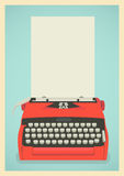 Retro typewriter background. Mid century illustration with retro typewriter and paper sheet Royalty Free Stock Photo