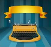 Retro typewriter with banner Stock Image