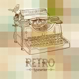 Retro typewriter. With bird over abstract background Stock Photo