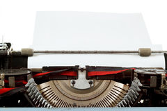 Retro typewriter close up with entered paper Stock Photography