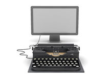 Retro typewriter and computer monitor Stock Photos