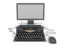 Retro typewriter, computer monitor and mouse Stock Images