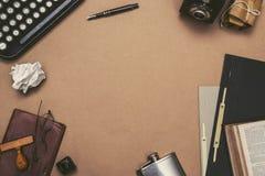 Retro typewriter desk hero header royalty free stock photos