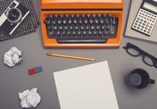 Retro typewriter desk hero header royalty free stock photo