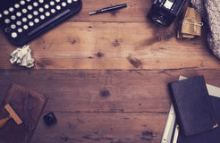Retro typewriter desk hero header. Retro or vintage top view of writers office desk hero header Royalty Free Stock Photos