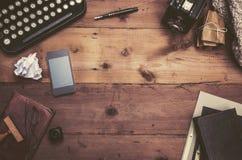 Retro typewriter desk royalty free stock image