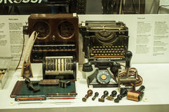 Retro typewriter displayed in showcase in London Science Museum Stock Images