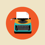 Retro typewriter with page on colored background Royalty Free Stock Photography