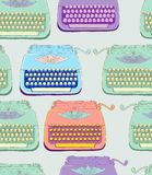 Retro typewriter seamless background. Retro typewriter, vintage hand drawn background, seamless pattern Royalty Free Stock Images