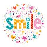 Retro- Typografie des Wort-Lächelns, die dekorativen Text beschriftet Stockfoto