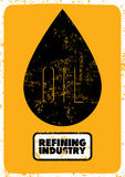 Retro typographic grunge Oil refining industry poster. Vector illustration. Royalty Free Stock Images
