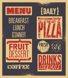 Retro typographic restaurant menu design. Vector illustration. Background grunge effect in separate layer. Stock Photography