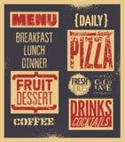 Retro typographic restaurant menu design. Vector illustration. Background grunge effect in separate layer. Stock Photography