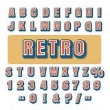 Retro Typography Alphabet Font. Retro typography alphabet. Caps letters and numbers. Vector illustration Royalty Free Stock Photo