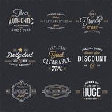 Retro Typography Vector Discount and Sale Labels Stock Image