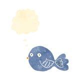 retro uccello del blu del fumetto Immagini Stock Libere da Diritti