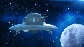 Retro UFO Spaceship, flying saucer in deep space, vintage spacecraft flying in the Universe with planet and stars, side view, 3D. Rendering royalty free illustration