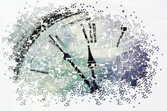 Retro- Uhr mit fünf Minuten vor zwölf lizenzfreie abbildung