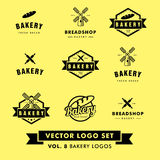 Retro Uitstekend de Bakkerijrestaurant Vectorlogo set van Hipster Royalty-vrije Stock Afbeeldingen