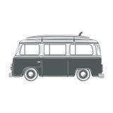 Retro, uitstekend, reis, kampeerautobestelwagen, met branding royalty-vrije illustratie