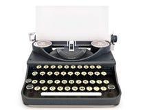 Retro uitstekend schrijfmachine vooraanzicht met document stock foto's