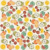 Retro uitstekend stijlbehang met Vruchten. Royalty-vrije Stock Foto