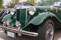 Retro Uitstekende Auto Front View Detail van MG Royalty-vrije Stock Foto's